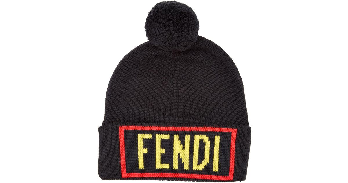 f96a2c05cbb43 Fendi Love Pom Pom Knit Hat in Black for Men - Lyst