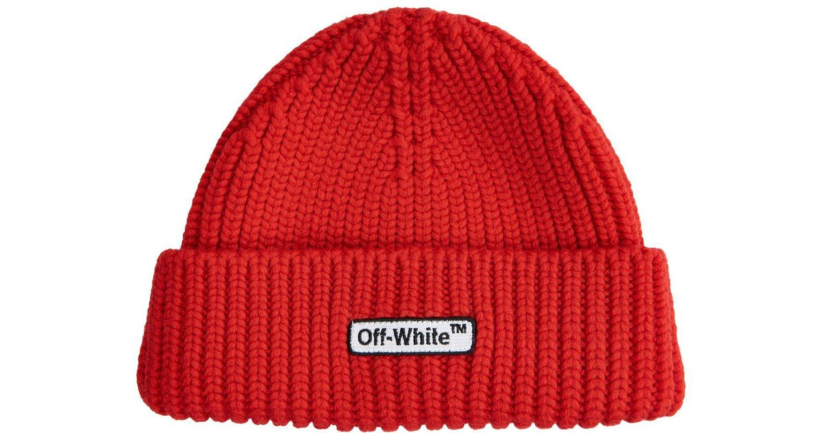 6cf71cf13720e Off-White c o Virgil Abloh Patch Beanie in Red for Men - Lyst