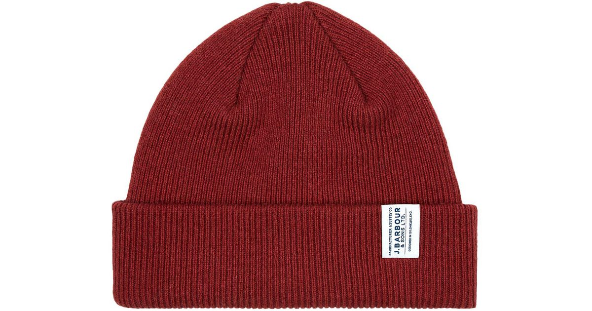 Lyst - Barbour Barra Beanie Hat in Red for Men 7f317c3cb287