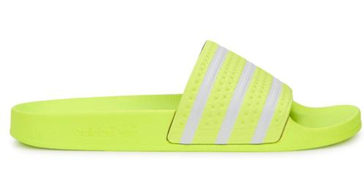 e94262e43 adidas Originals Adilette Neon Yellow Leather Sliders in Yellow for Men -  Lyst