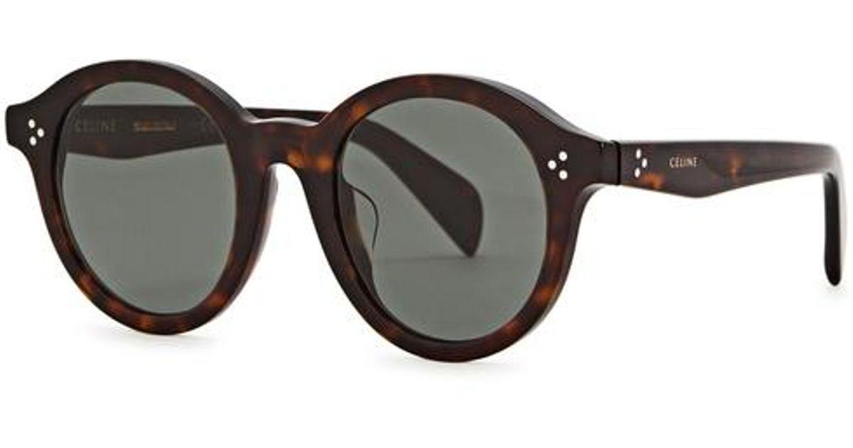 dd823fad90 Céline Tortoiseshell Round-frame Sunglasses - Lyst