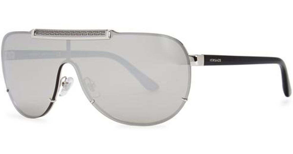 5db7553e8cac Lyst - Versace Silver Tone Greco-engraved Sunglasses in Metallic for Men
