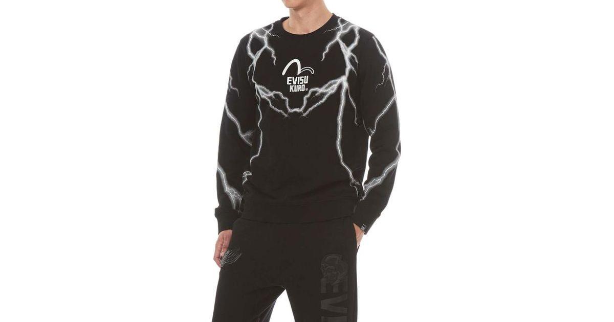 26e6365c7714 Evisu Lightning Graphic Print Sweatshirt in Black for Men - Lyst
