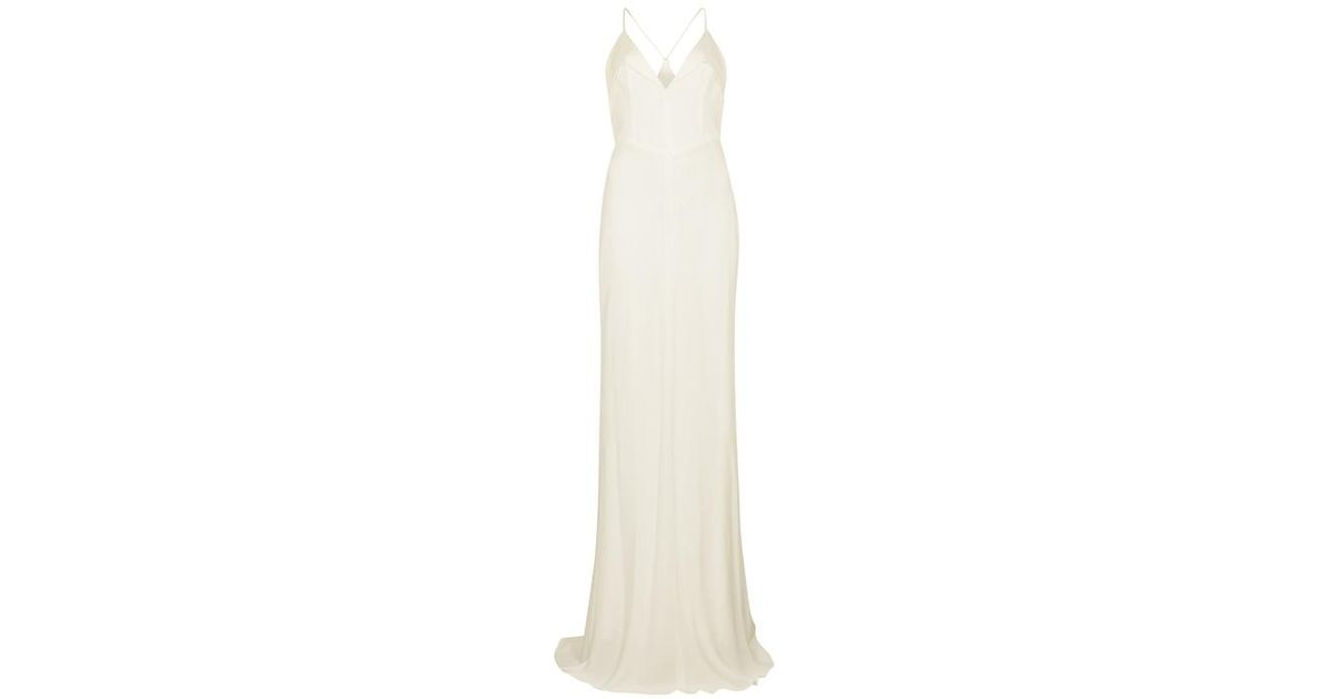 133ca32fd67 Galvan London Punta White Satin-trimmed Crepe Gown in White - Lyst