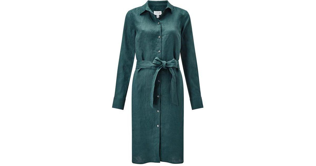 6cbf50060e Jigsaw Linen Shirt Dress in Green - Lyst