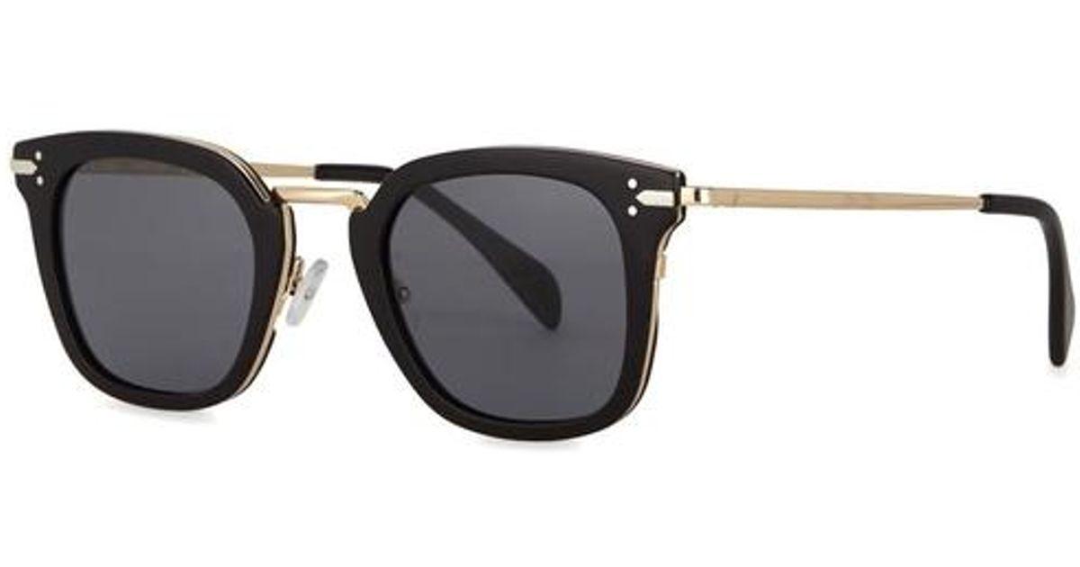 ef3e0650ecb Céline Vic Black Clubmaster-style Sunglasses in Black - Lyst