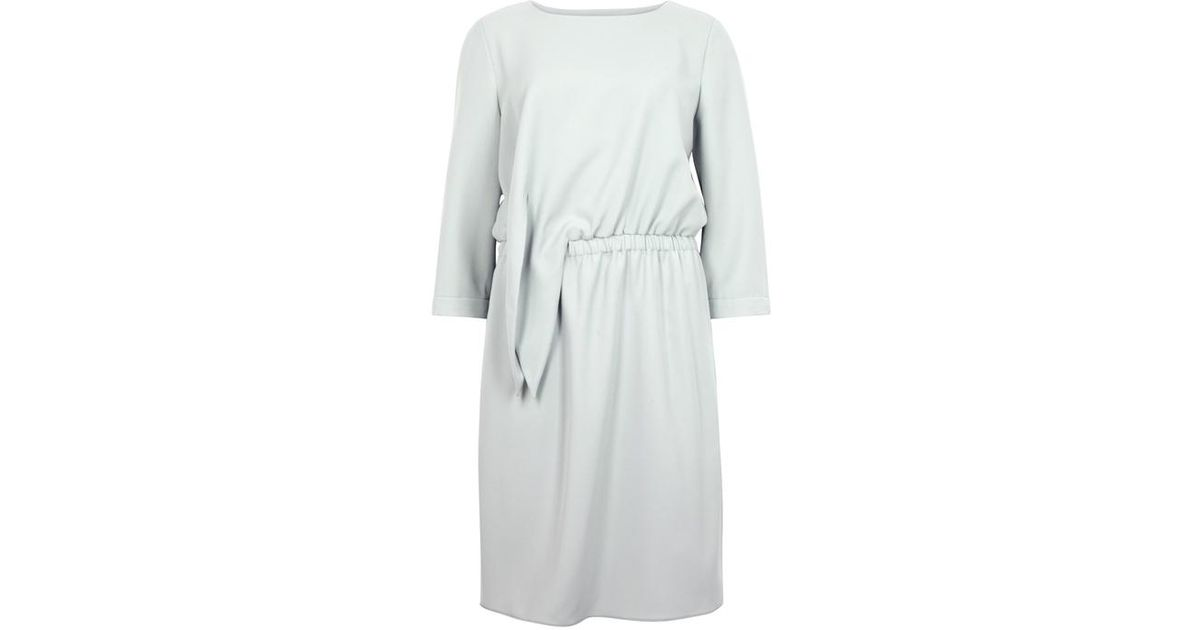 ff4861f1876 Emporio Armani Light Grey Tie-front Dress in Gray - Lyst