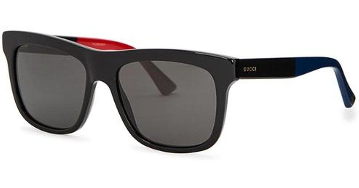 89942beb7af Gucci Black Wayfarer-style Sunglasses in Black for Men - Lyst