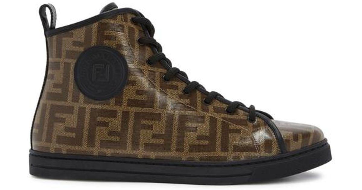 48812f32e5 Fendi Monogram Hi-top Sneakers in Black - Save 34% - Lyst