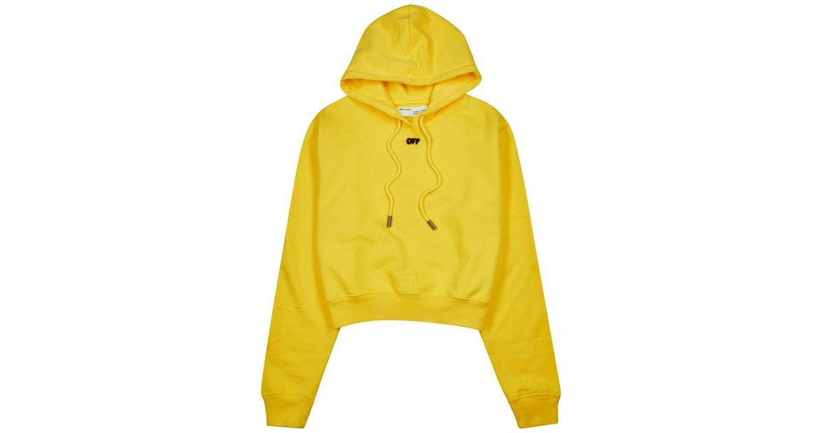 5975399a98bd Off-White c o Virgil Abloh Arrows Yellow Hooded Cotton Sweatshirt in Yellow  - Lyst