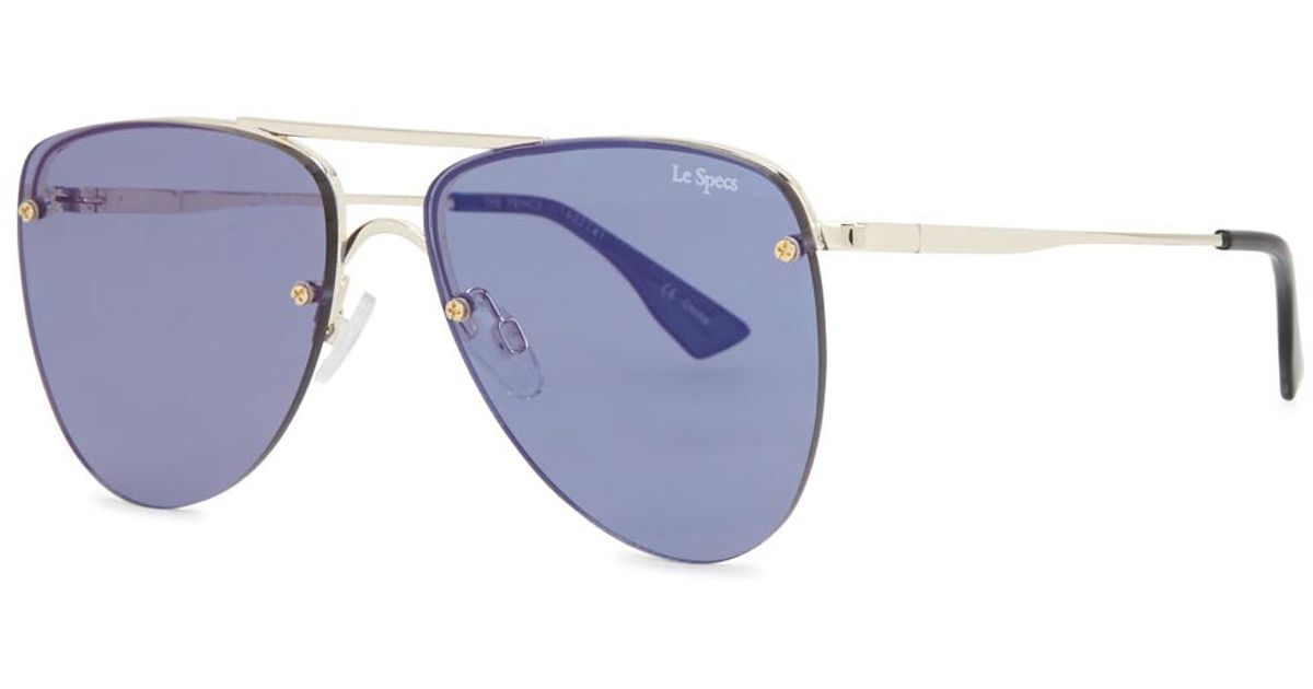 15ea295318 Le Specs The Prince Aviator-style Sunglasses in Blue - Lyst
