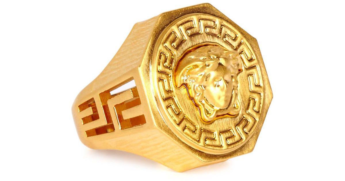 Versace Gold Tone Medusa Ring in Metallic for Men