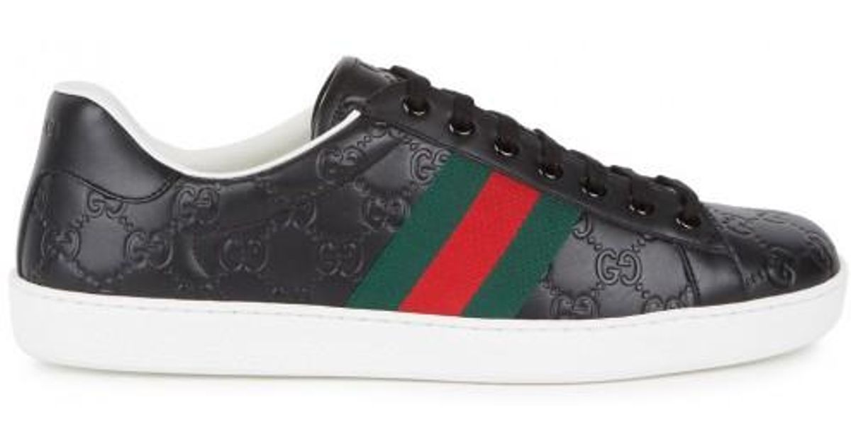 ef466686d31 Gucci New Ace Black Leather Trainers - Size 9 in Black for Men - Lyst