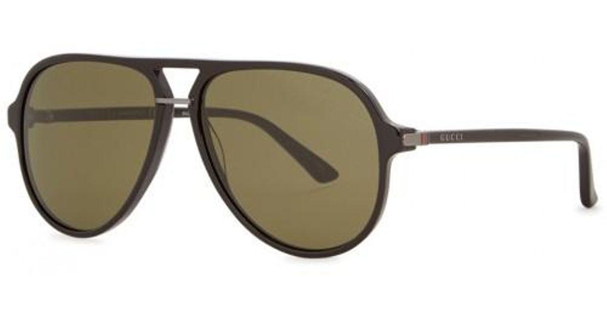 692b4de3d79 Gucci Black Aviator-style Sunglasses in Black for Men - Lyst