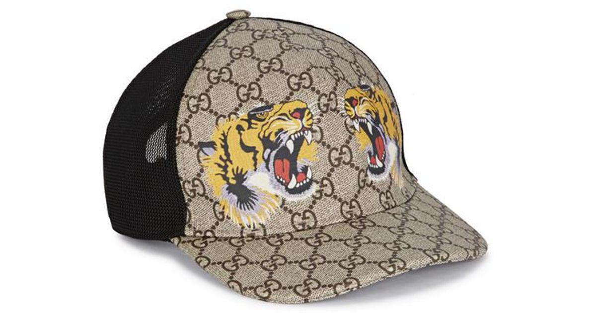 43fcc0af9d034 Gucci Tiger-print Gg Supreme Monogrammed Cap in Natural for Men - Lyst