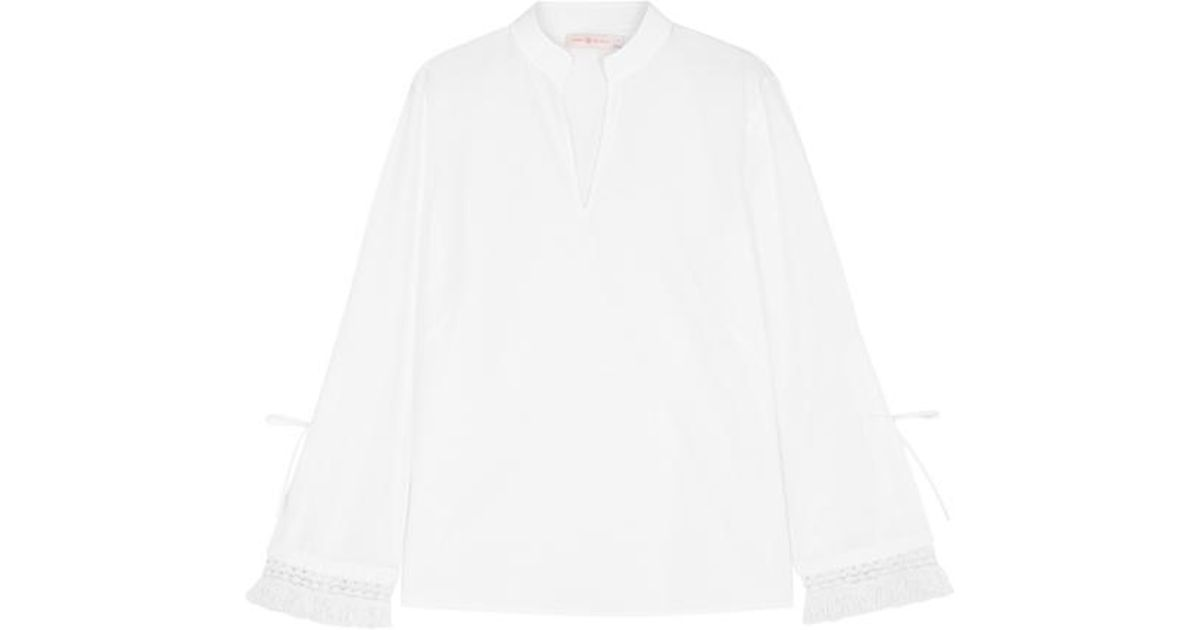 Sophie Fringed Crochet-trimmed Cotton-poplin Top - White Tory Burch Free Shipping Latest Cheap Sale Original PhDT5wP
