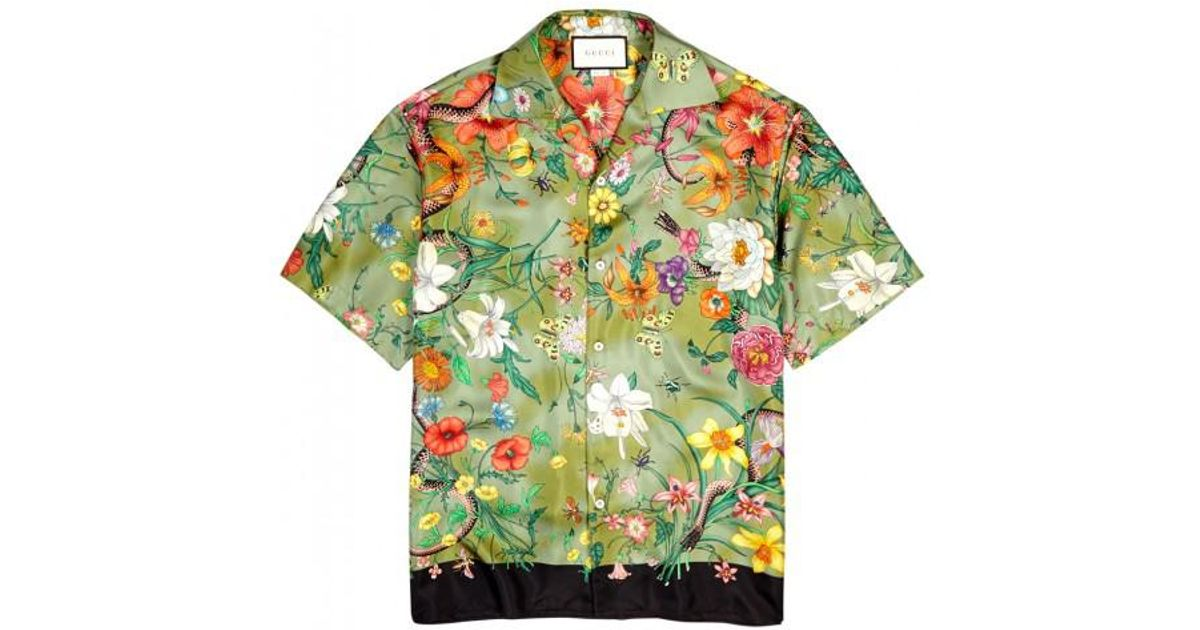 8e8708e4b Gucci Flora Olive Printed Silk Shirt in Green for Men - Lyst