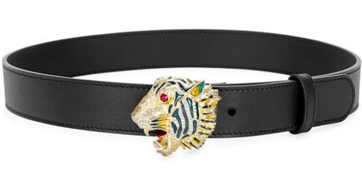 ba8009919a5 Gucci Tiger Buckle Leather Belt in Black - Lyst