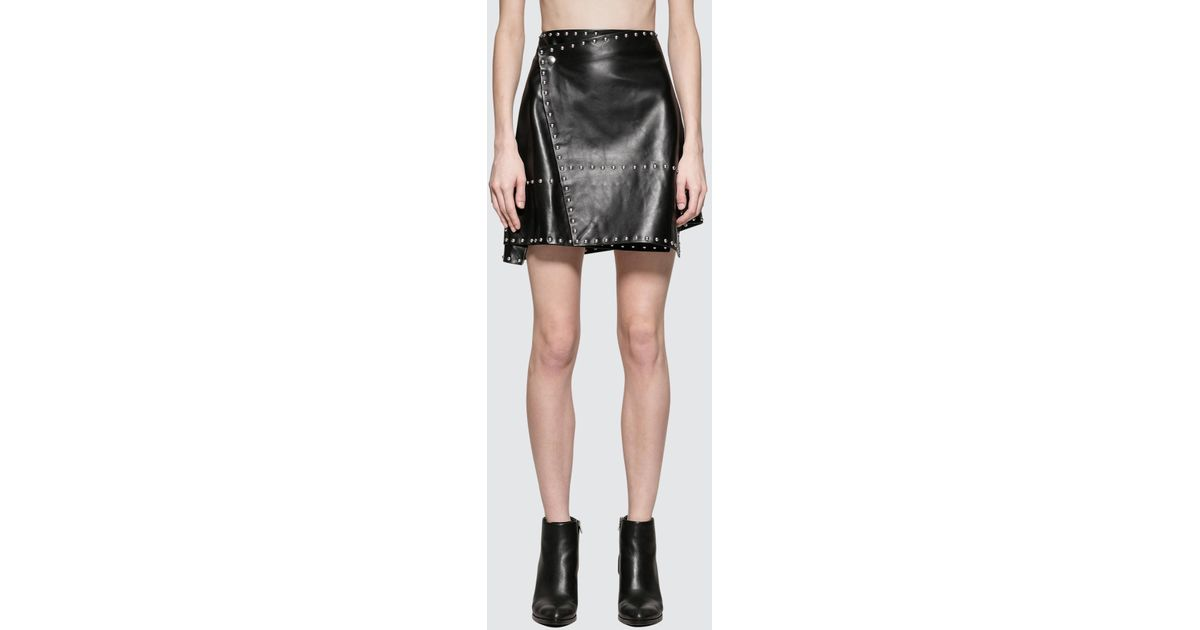 1f8f80072 Lyst - Helmut Lang Studded Leather Skirt in Black