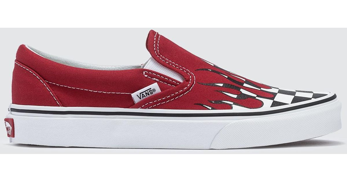 d50e4948f472a Lyst - Vans Checker Flame Classic Slip-on in Red