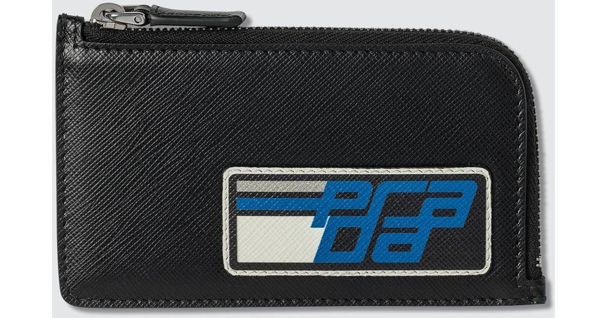 a96fa99e9979 Lyst - Prada Patch Small Wallet in Black for Men