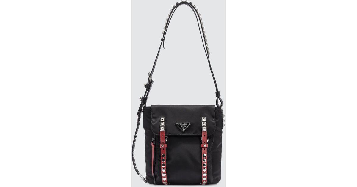 6503bfb3334a Lyst - Prada Tbo Black Nylon Cross Body Bag in Black