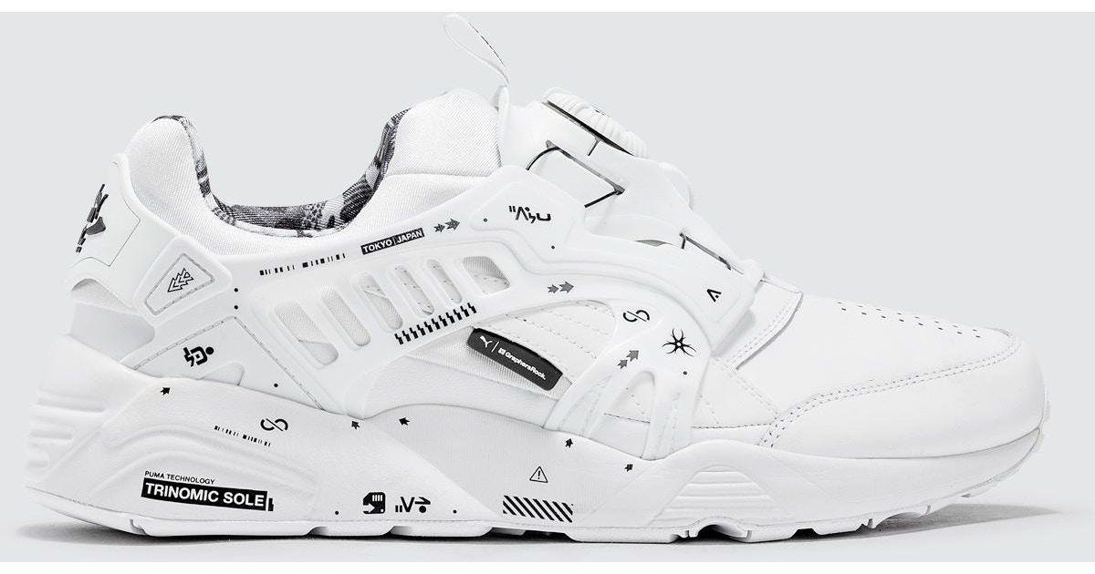 Lyst - PUMA Graphersrock X Disc Blaze Leather By Gr in White for Men c24f76f36