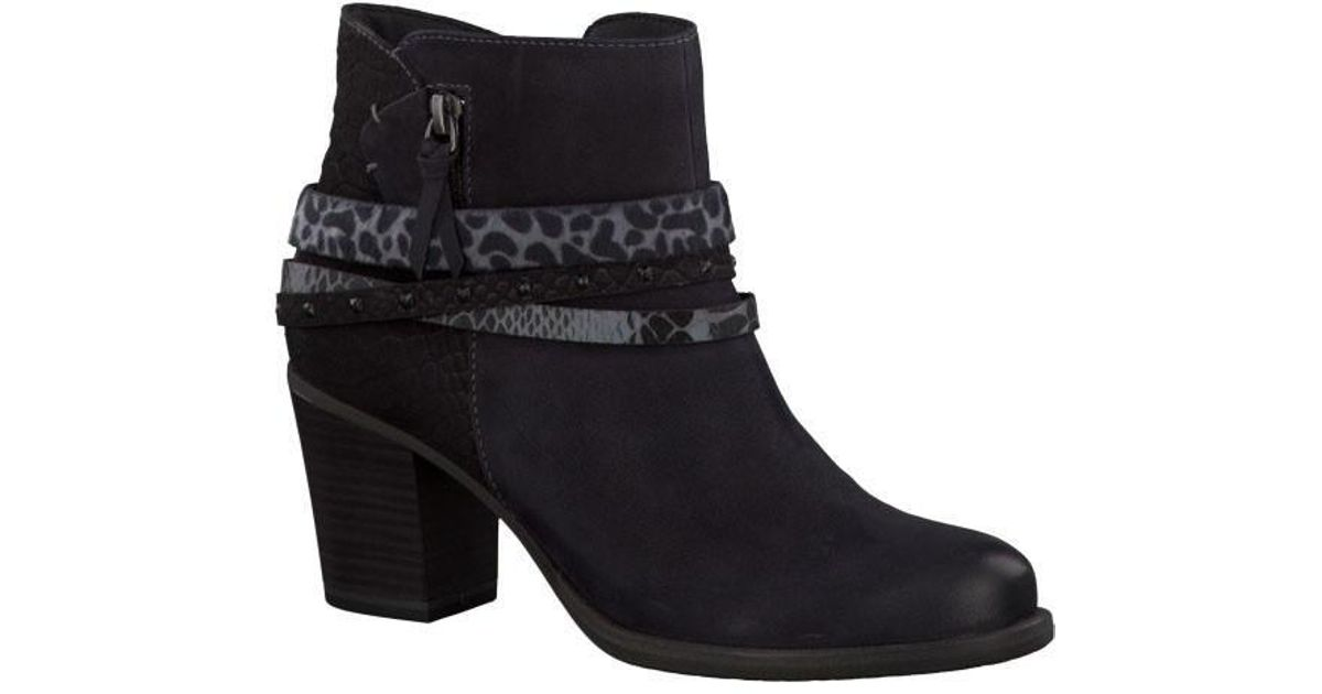 73c4a063ded Tamaris - Black Nubuck Leather Animal Print Strap Ankle Boot - Lyst