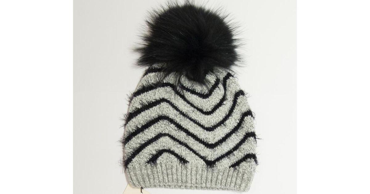 eeb86138c74 James Lakeland Grey And Black Raccoon Knit Fur Pom Pom Hat in Gray - Lyst