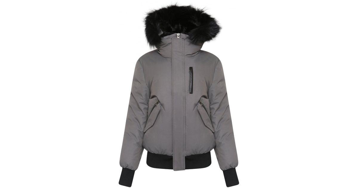 56c5ddba6c0c9 Mackage Dixon Fur Trim Bomber Jacket Grey in Gray - Lyst