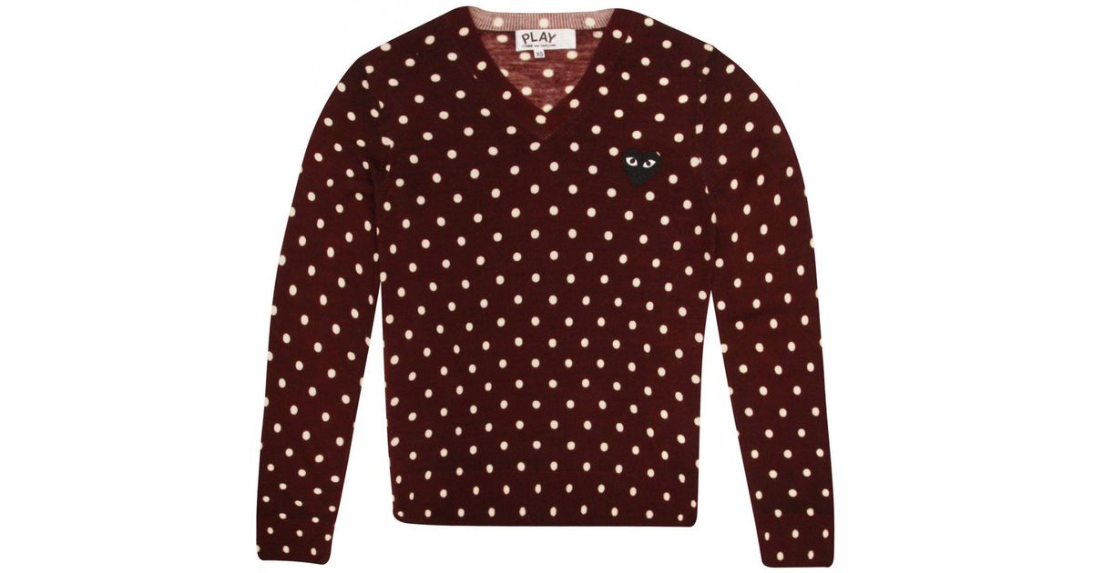 Lyst Comme Des Garçons Play Womens Polka Dot Jumper Maroon In Red