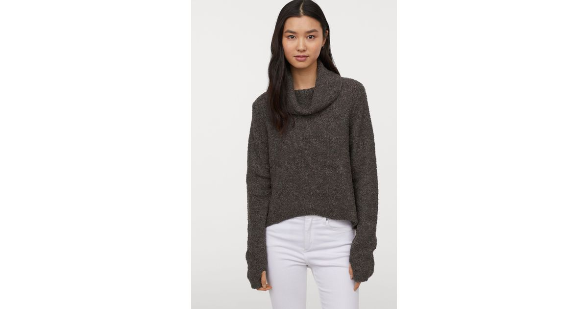 4fa2855ad169 Lyst - H M Bouclé Turtleneck Sweater in Gray