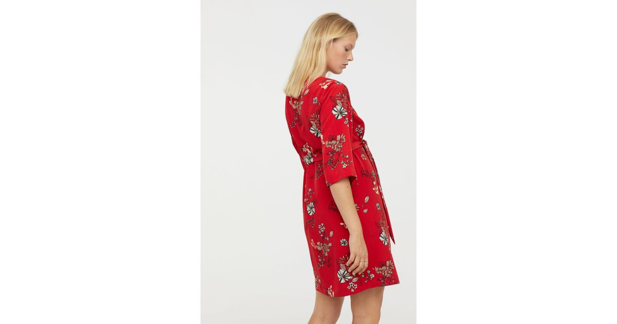 d772adfe8e4 Lyst - H M Mama Patterned Dress in Red
