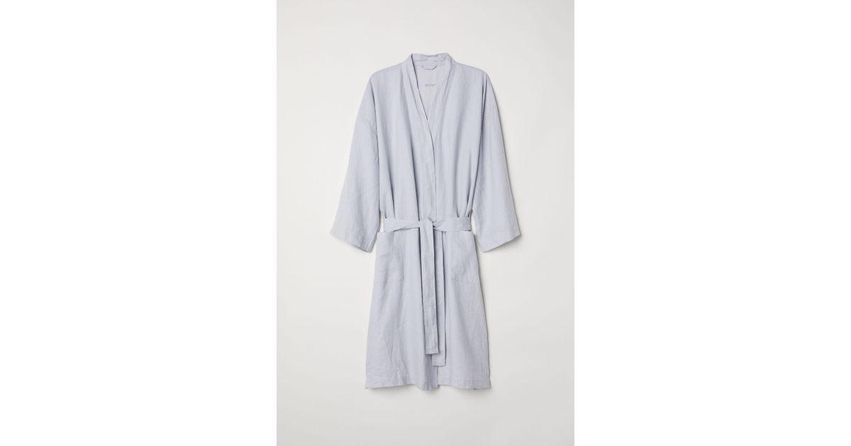 477b15c371 H M Washed Linen Dressing Gown in Gray - Lyst