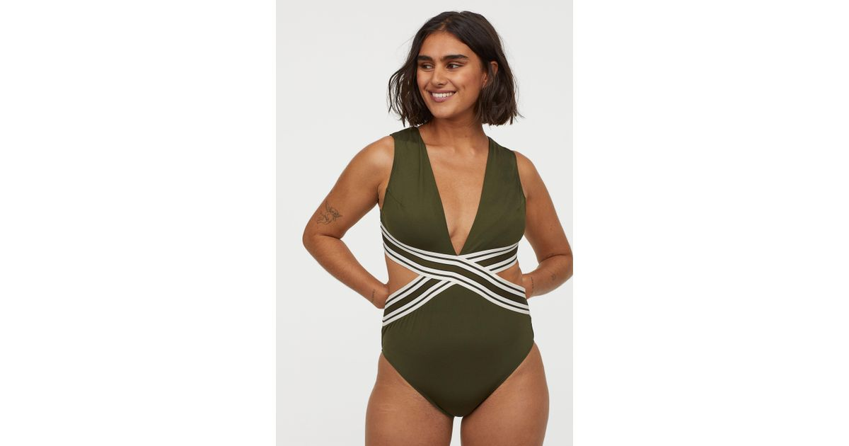 3caaa3972b H&M Cut-out Swimsuit in Green - Lyst
