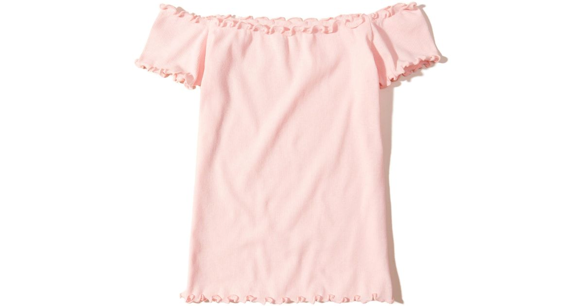 1a63c6f8b2370 Lyst - Hollister Ribbed Slim Off-the-shoulder Top in Pink