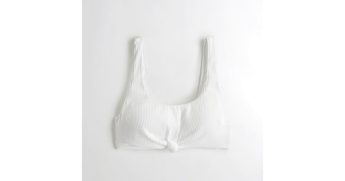 654821d26c96e Lyst - Hollister Ribbed Knot Scoop Bikini Top in White
