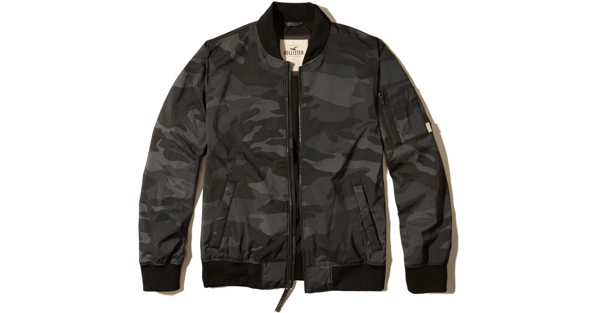 Hollister Camo Nylon Bomber Jacket In Black For Men