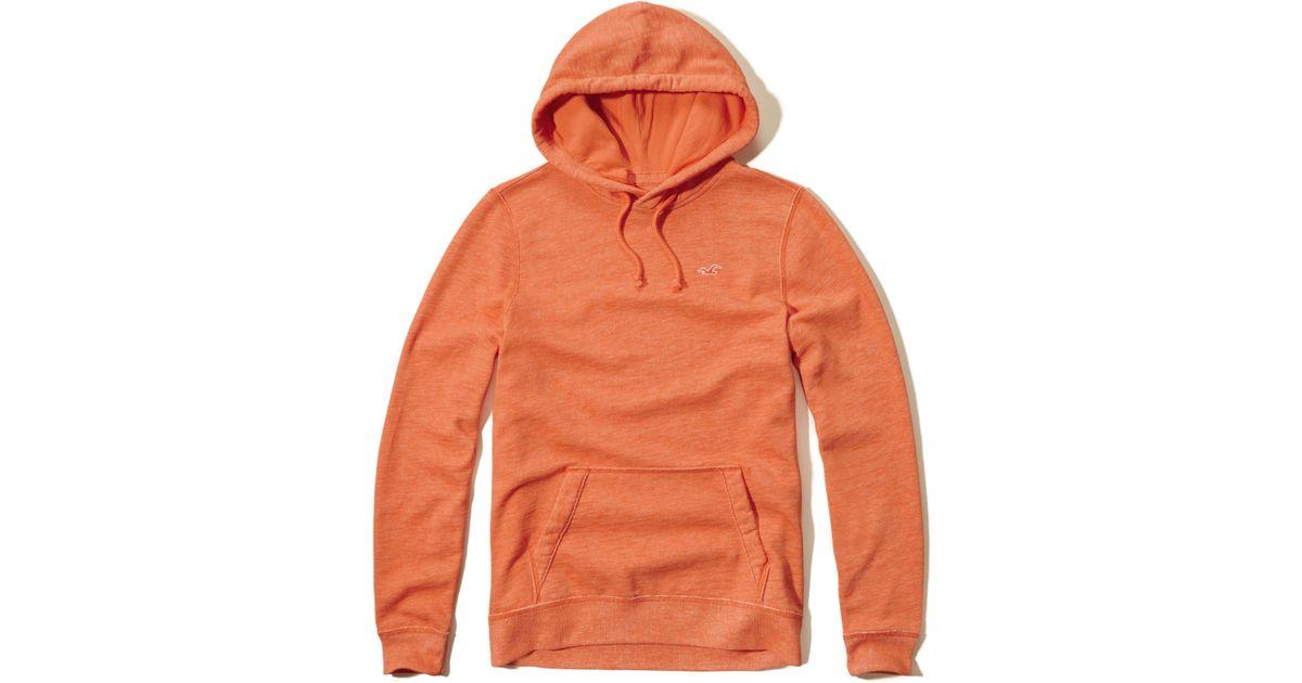 Hollister Sweaters Hollister Hoodies Hollister Shirts Hollister Jacket Hollister Pants Hollister Jeans: Hollister Iconic Fleece Hoodie In Orange For Men