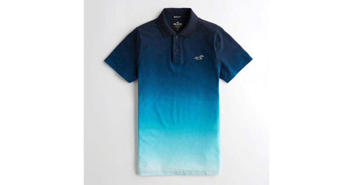 77d9a0ee Lyst - Hollister Guys Stretch Ombré Muscle Fit Polo From Hollister in Blue  for Men