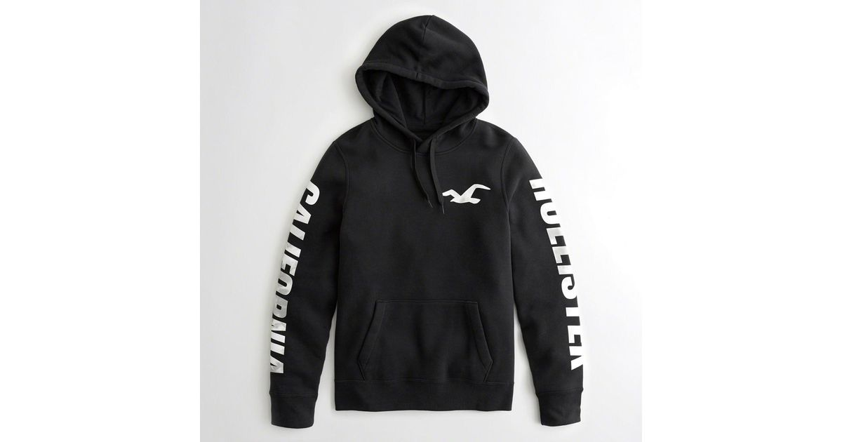 dda18022 Hollister Guys Print Logo Graphic Hoodie From Hollister in Black for Men -  Lyst