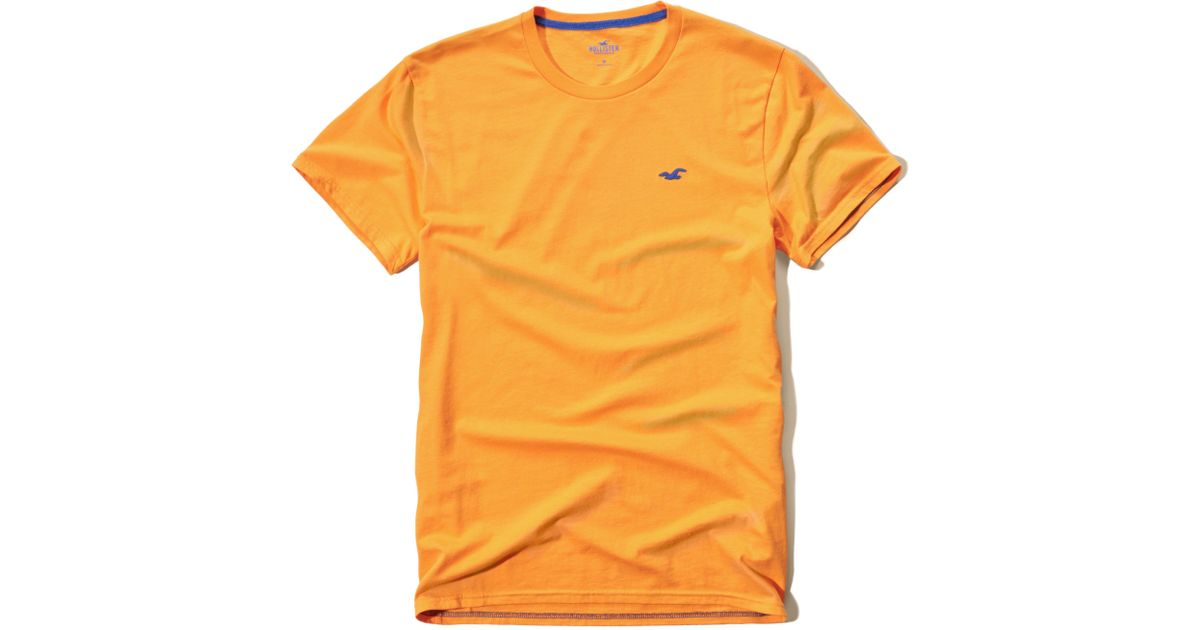 Hollister Crew T-shirt In Yellow For Men