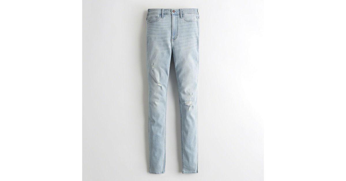 ca043bde76e Lyst - Hollister Girls Classic Stretch Ultra High-rise Super Skinny Jeans  From Hollister in Blue