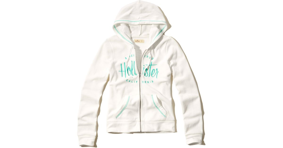Hollister Sweaters Hollister Hoodies Hollister Shirts Hollister Jacket Hollister Pants Hollister Jeans: Hollister Logo Graphic Full-zip Hoodie In White
