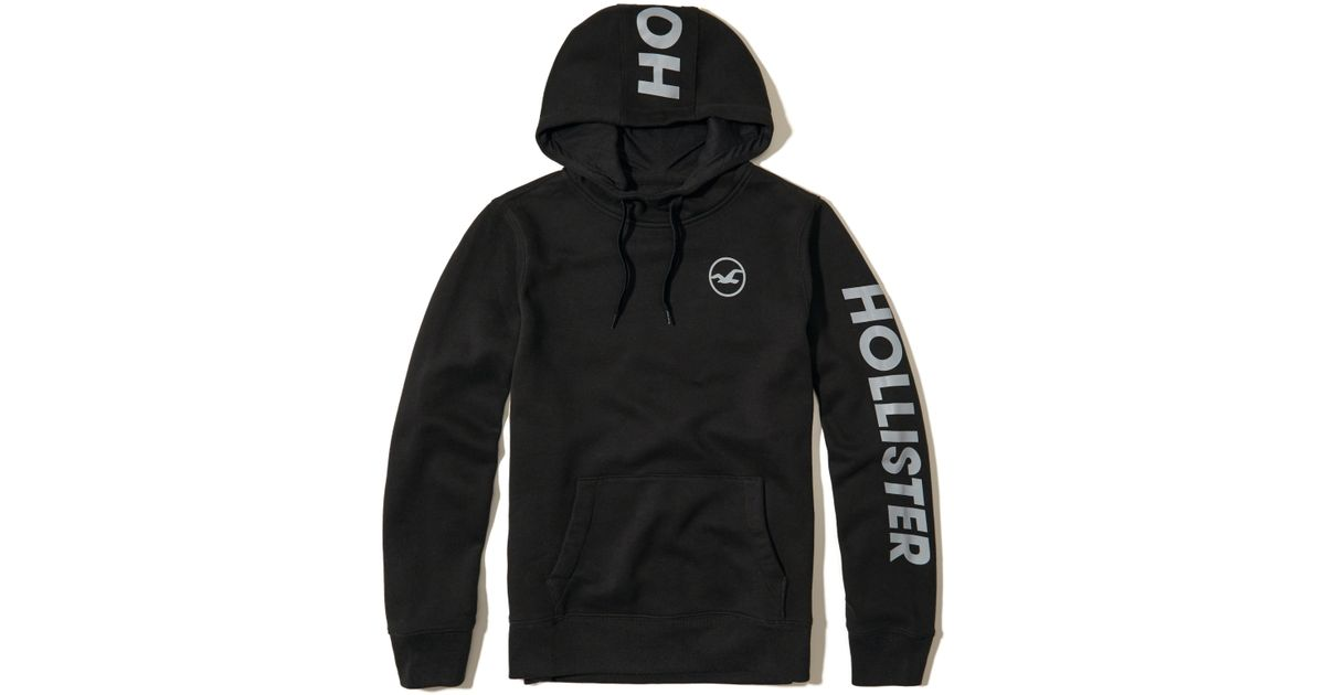 Hollister Logo Graphic Hoodie In Black For Men