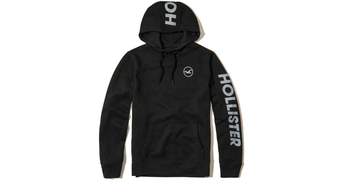 Hollister Fleece Logo Graphic Hoodie In Black For Men