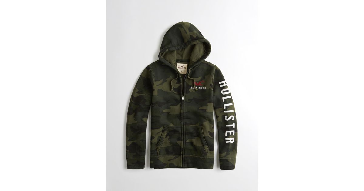 Hollister Sweaters Hollister Hoodies Hollister Shirts Hollister Jacket Hollister Pants Hollister Jeans: Hollister Camo Full-zip Logo Hoodie For Men