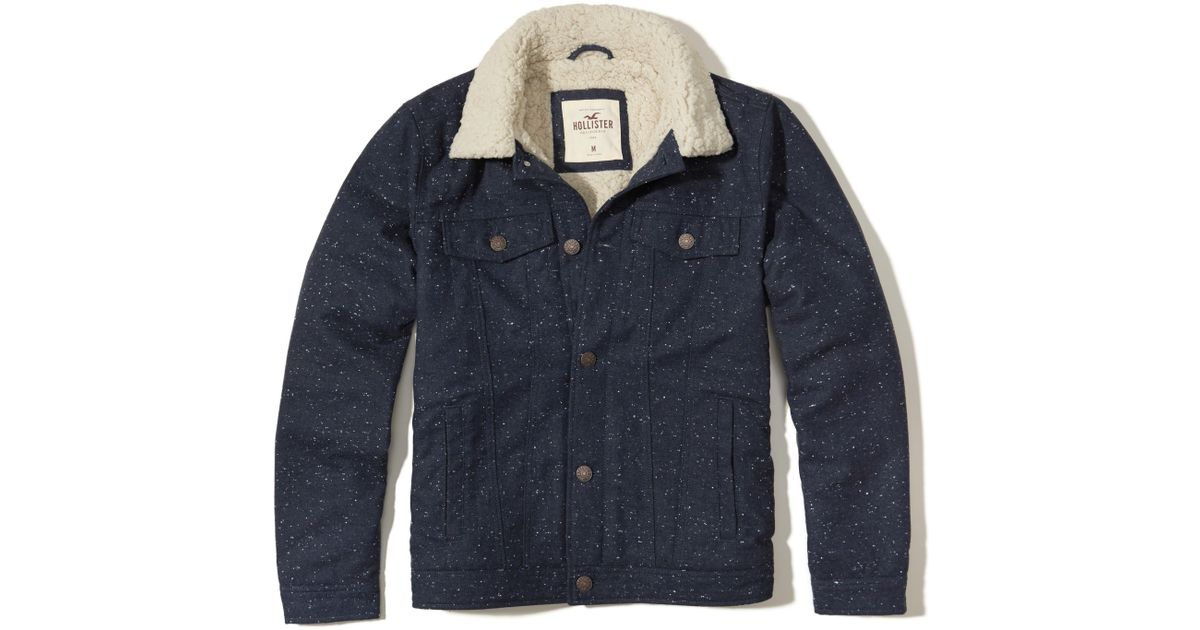 Hollister Sweaters Hollister Hoodies Hollister Shirts Hollister Jacket Hollister Pants Hollister Jeans: Hollister Sherpa-lined Twill Trucker Jacket In Blue