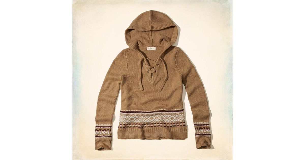 Lyst - Hollister Lace-up Hooded Sweater 6728f8a4d
