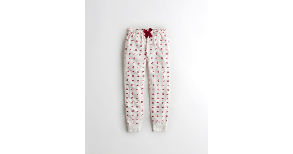 Lyst Hollister Patterned Flannel Sleep Joggers In White Awesome Patterned Joggers